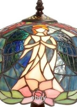 Tiffany Style Table Lamp Angel Motif Floral Stained Glass Shade Victorian Base