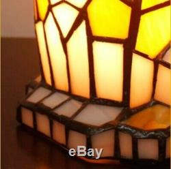 Tiffany Style Table Lamp Art Cat Handcrafted Light Glass Stained Bedside Desk