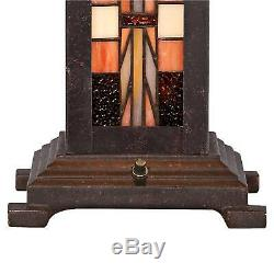 Tiffany Style Table Lamp Art Deco Bronze Stained Glass for Living Room Office