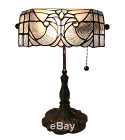 Tiffany Style Table Lamp Banker 14 Tall Stained Glass White Grey Vintage Light