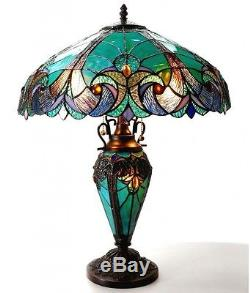 Tiffany Style Table Lamp Bedroom Stained Glass 18 Shade Night Light In Base New