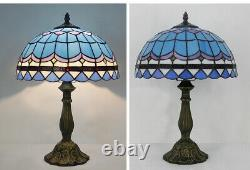 Tiffany Style Table Lamp Blue Seasky 12 Inch Shade Stained Glass Reading Lamp US