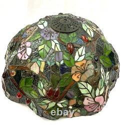 Tiffany Style Table Lamp Double Lit Stained Glass Lamp Tree Jungle Monkeys 27