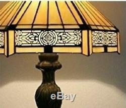 Tiffany Style Table Lamp Glass Stained Lamps Handcrafted Shade Bedside Art Light