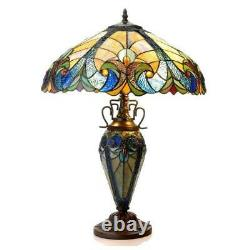 Tiffany Style Table Lamp Golden Blue Stained Glass Accent Reading Accent Lamp