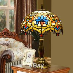 Tiffany Style Table Lamp Handcrafted Victorian Stained Glass Bedroom Desk Light