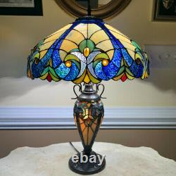Tiffany Style Table Lamp Ocean Blue Yellow Stained Glass Victorian Theme Lamp