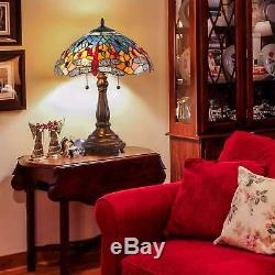 Tiffany Style Table Lamp Red Dragonfly Blue Stained Glass Copper Base 24 High