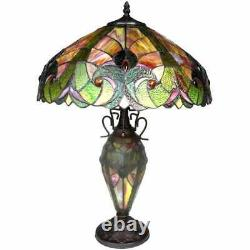Tiffany Style Table Lamp Red Stained Glass Accent Reading Accent Lamp