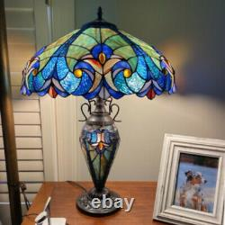 Tiffany Style Table Lamp Royal Blue Stained Glass Reading Accent Victorian Theme