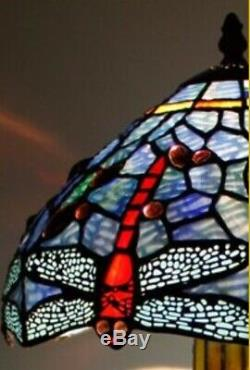 Tiffany Style Table Lamp Stained Glass Base Handcrafted Shade Light Dragonfly