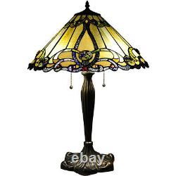 Tiffany Style Table Lamp Stained Glass Gold Beige Amber Jeweled Shade