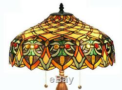 Tiffany Style Table Lamp Stained Glass Jewels Brown Yellow Shade Metal Base 25