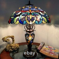 Tiffany Style Table Lamp Stained Glass Victorian Double lit 3 Light 18 Shade