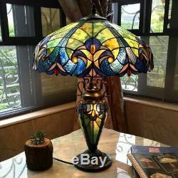 Tiffany Style Table Lamp Victorian Lighted Base Stained Glass Blue Green 26 New