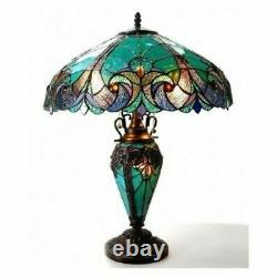 Tiffany Style Table Lamp Victorian Mission Lighted Base Blue Amber 25 Shade 18