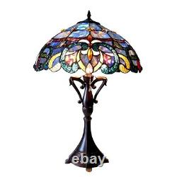 Tiffany Style Table Lamp Victorian Multicolored Stained Glass 18 Shade handmade