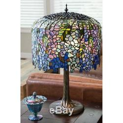 Tiffany Style Table Lamp Wisteria Stained Glass Vintage Bedside Reading Light
