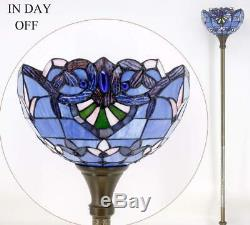 Tiffany Style Torchiere Floor Lamp Blue Peach Jewel Stained Glass Shade 66 High