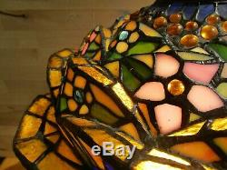 Tiffany-Style Very Heavy 3-D Floral Pattern 26.5 Stained Glass TB Lamp #E181987
