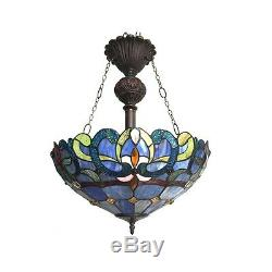 Tiffany Style Victorian 2 Light Inverted Ceiling Pendant Light Lamp 18 Shade