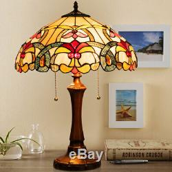 Tiffany-Style Victorian 2-Light Table Lamp with 16 Stained Glass Shade Bedroom