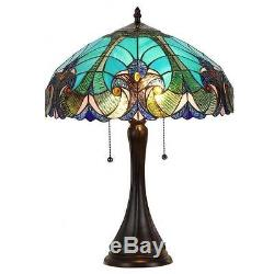 Tiffany Style Victorian 2 Light Table Lamp with Blue Glass Shade