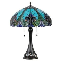 Tiffany Style Victorian 2-light Green Stained Glass Table Reading Lamp