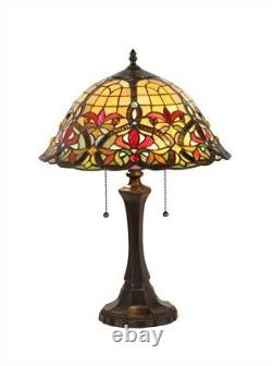 Tiffany Style Victorian Cabochon 2 Light Table Lamp 16 Shade Stained Glass