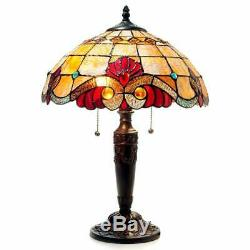 Tiffany Style Victorian Design 2-Lt Stained Glass Accent Desk Table Lamp