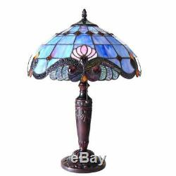 Tiffany Style Victorian Design 2-light Antique Bronze Stained Glass Table Lamp