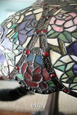 Tiffany Style Victorian Stained Glass Table Lamp 3 Bulb Antique Dark Bronze Base