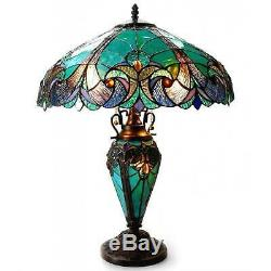 Tiffany Style Victorian Table Lamp 3 Light Green Stained Glass Shade