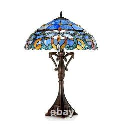 Tiffany Style Victorian Table lamp 18 Shade Green Ivory Blue & Gold 26 Tall