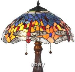 Tiffany Table Lamp Red Dragonfly 25 in. Handcrafted Stained Glass Bronze Base