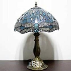 Tiffany Table Lamp Sea Blue Stained Glass Crystal Bead Dragonfly Style Desk Gift
