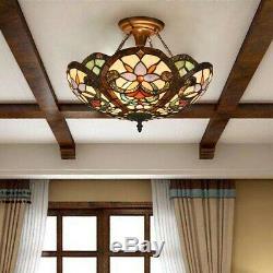 Tiffany Victorian 2-Light Semi Flush Ceiling Lamp Stained Glass Light Fixture UL