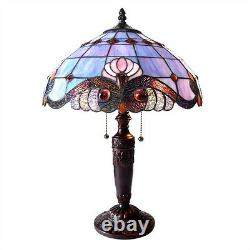 Tiffany Victorian Design Stained Glass Table Desk Lamp 15 Shade 20 Tall