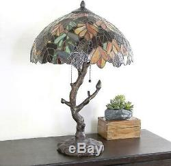 Tiffany Victorian Style Branch Stained Glass Lampshade Table Lamp Mosaic Reading