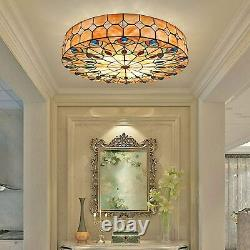 Tiffany Vintage Stained Glass Chandelier Peacock Flush Mount Round Ceiling Light