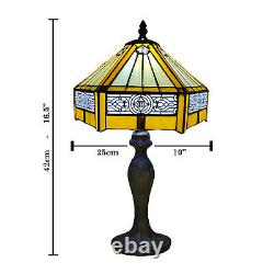 Tiffany Yellow Hexagon Table Lamp Stained Glass shade Antique Style Bulb E27 UK