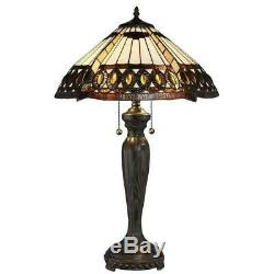 Tiffany amberjack 26 in. Bronze table lamp stained glass shade light pull base