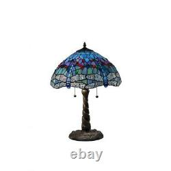 Tiffany blue dragonfly 26 in. Bronze table lamp stained glass style shade inch