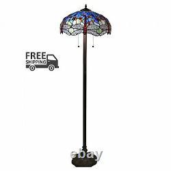 Tiffany-style Azul Dragonfly 18 Floor Lamp Glass Shade Lighting Decor Display