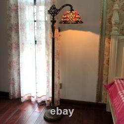 Tiffany-style Floor Lamp Victorian Reading Light 12 Shade BERTRAM