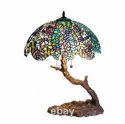 Tiffany-style Green Purple Stained Glass Shade Branch Shape Stem & Base 25 High