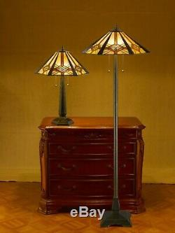 Tiffany-style Hex Mission Lamp Set 16 Shade
