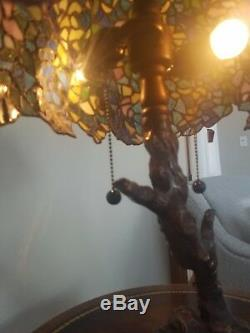Tiffany style Stained Glass Tree Lamp. 23 H X 19 W