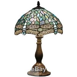 Tiffany style table lamp light S147 series 18 inch tall sea-blue dragonfly shade