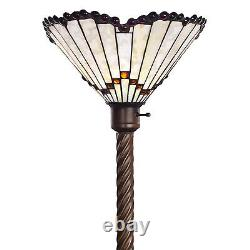 Torchiere Floor Lamp Tiffany Style White Glass Shade with Red Jeweled Edging 72 H